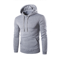 Lucky Men New Men's Fashion Slim Hooded Long-sleeved Sweater Casual Brushed Sweatshirt light gray l