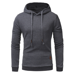 2019 New Men's Jacquard Sweater Long-sleeved Hoodie Warm Hooded Sweatshirt Jacket dark gray m
