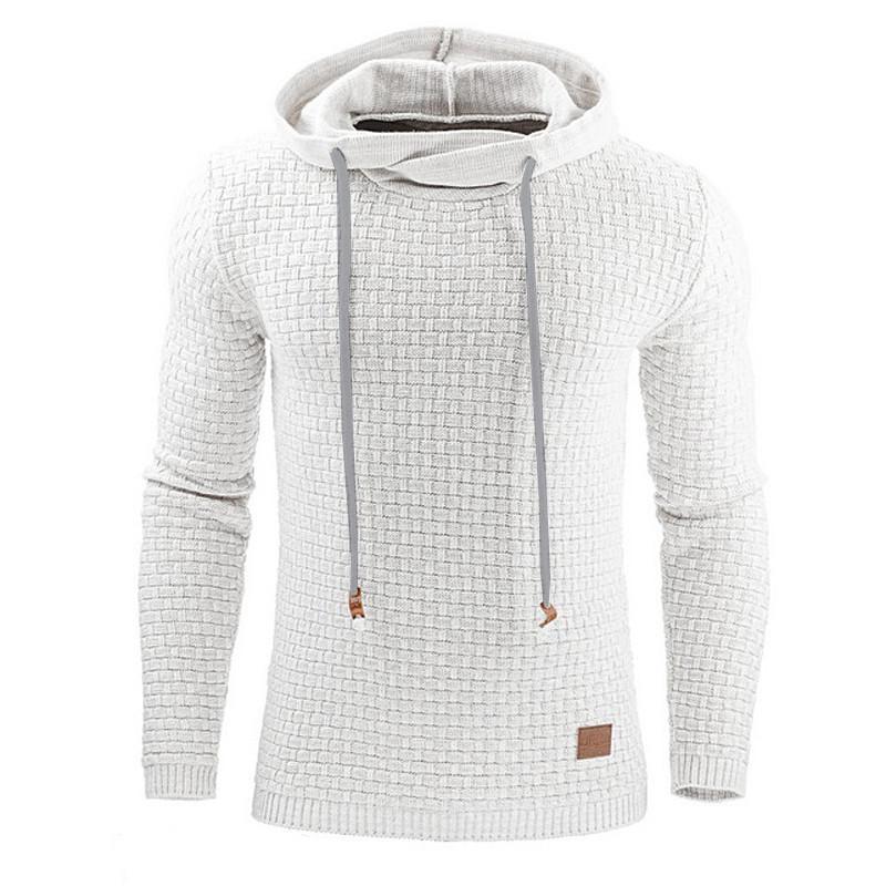 Men Hooded Sweatshirt Solid Color Plaid Hoodies Male Long Sleeve Hoodie Casual Sportswear US Size black 4XL 9