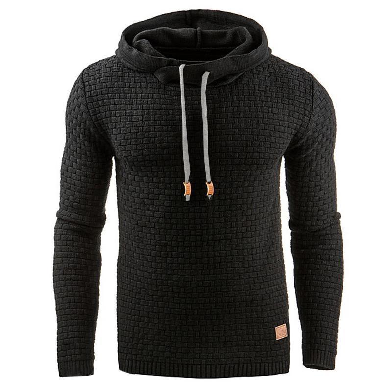 Men Hooded Sweatshirt Solid Color Plaid Hoodies Male Long Sleeve Hoodie Casual Sportswear US Size black 4XL 10