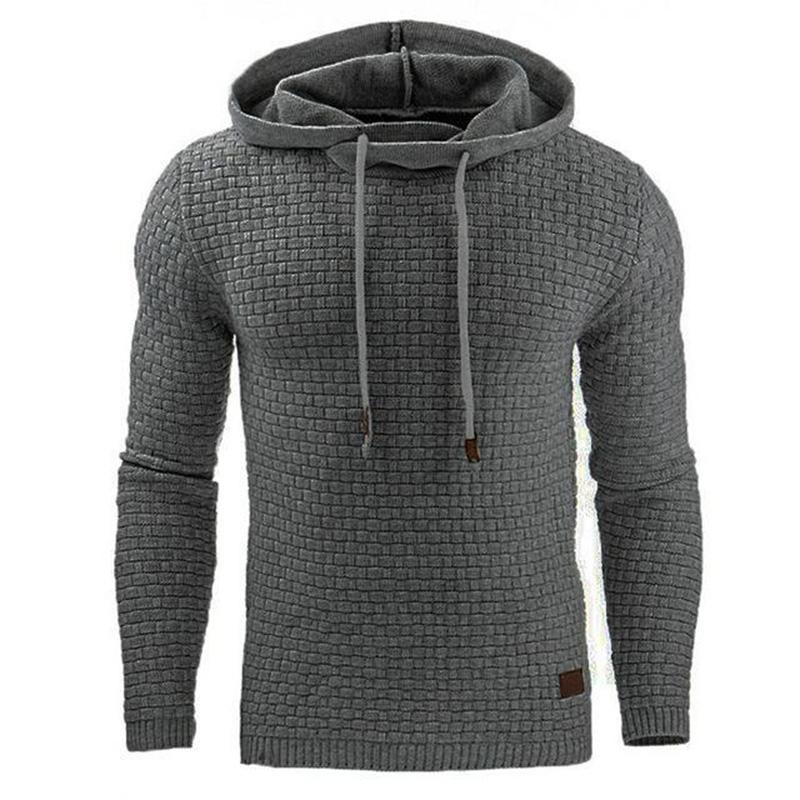 Men Hooded Sweatshirt Solid Color Plaid Hoodies Male Long Sleeve Hoodie Casual Sportswear US Size black 4XL 4