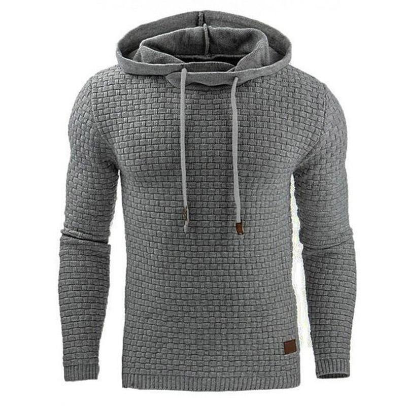 Men Hooded Sweatshirt Solid Color Plaid Hoodies Male Long Sleeve Hoodie Casual Sportswear US Size black 4XL 8