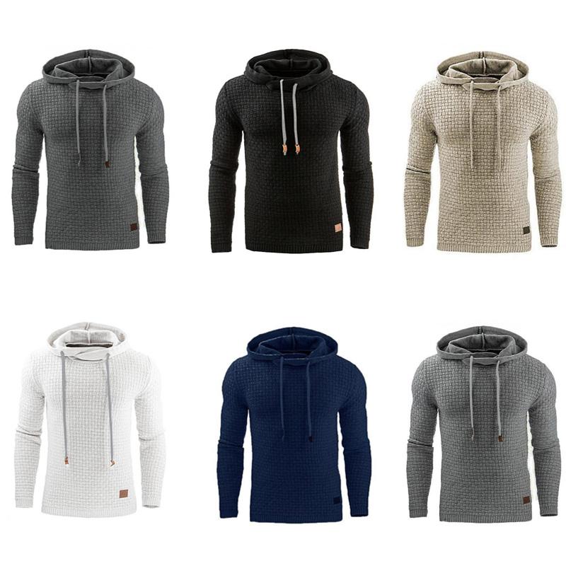 Men Hooded Sweatshirt Solid Color Plaid Hoodies Male Long Sleeve Hoodie Casual Sportswear US Size black 4XL 2