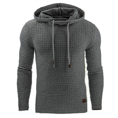 Men Hooded Sweatshirt Solid Color Plaid Hoodies Male Long Sleeve Hoodie Casual Sportswear US Size dark gray s
