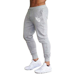 Running Sports Training Trousers Slim Brothers Elastic Closing Small Feet Sports Pants fitness gray and white m