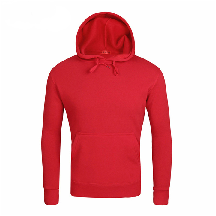 2019 New Men's Hooded Sweater Hooded Round Neck Sweater Collar Couple Lovers jacket Casual red m