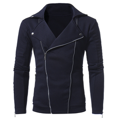 Men's new personality double pull zipper men's casual sweater coat dark blue m
