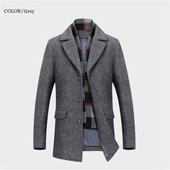 Winter Men's Casual Wool Trench Coat Fashion Business Long Thicken Slim Overcoat Jacket Male Clothes gray m