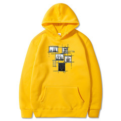 Sweater men's hooded 2019 autumn trend loose clothes student sports plus velvet jacket yellow s