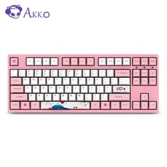Akko 3087 Wired Mechanical Keyboard 87 Keys with 6 Additional Keycaps for Home / Office / Game PINK BLUE AXIS