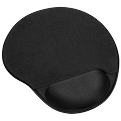 Mouse Pad with Gel Wrist Rest and Non-Slip PU Base BLACK
