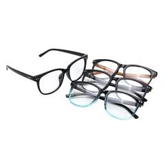 Men Women Round PC Eyeglass Full Rim Spectacles Fr Black+Yellow Normal