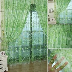 Pastoral Floral Voile Window Door Curtain Balcony  Blue one size