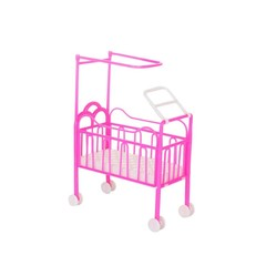 Lovely Mini Furniture Pulley Baby Beds Crib Play H Pink one size