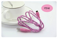 Factory 1/2/3 M Android data line 5s/6/8 Color nylon braided data line Smart phone USB line pink 1M