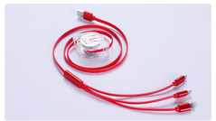 Telescopic one-drag three data lines for Apple Android Type-c three-in-one red