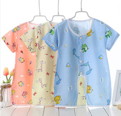 Baby's Jumpsuit Summer short sleeve thin baby silk pajamas Neonatal cotton crawling suit goldfish 73cm Silk fabric