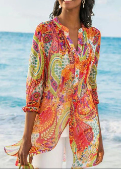 Shirts Bohemian vacation long shirt two-piece suit red s