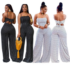 Women's blotches printed chest wrap strap jumpers two-piece suit White s