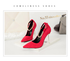 High-heeled Red Beaded women's single shoes nightclub sexy red 35