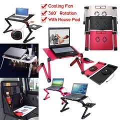 Portable Foldable Laptop Table Stand Notebook Desk #5 Rose Red W/ Cooli Normal