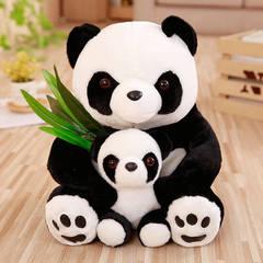Black and white Panda simulation crouching bear plush toy doll Black and white 40cm