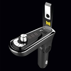 Bluetooth FM Transmitter MP3 Player USB Hands-Free Black one size