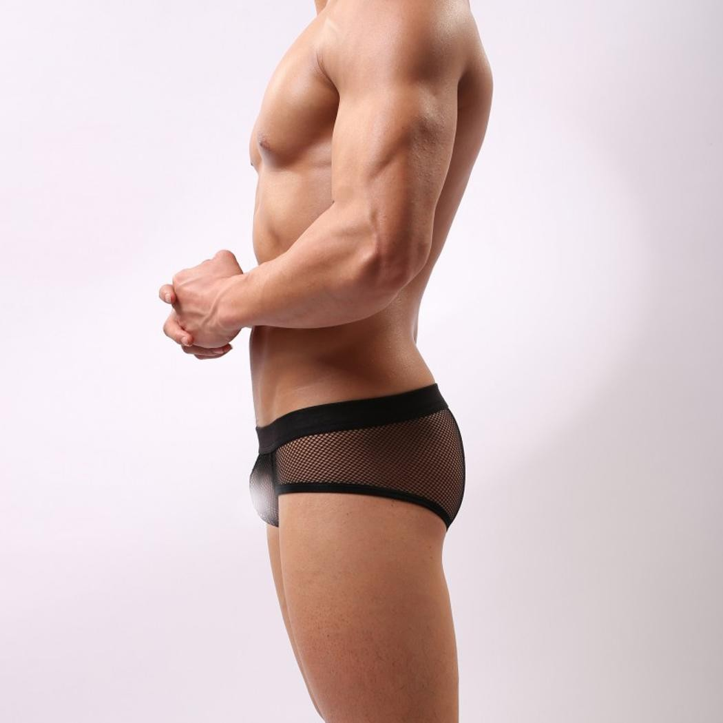 4905f5af8 Men Sexy Sheer Mesh Hollow Out Brief Thong Underwe Black M ...