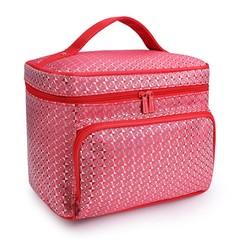 AU Portable Women Cosmetic Storage Makeup Bags Cas striped black Normal