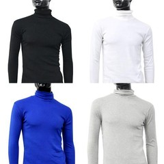 Men Fashion Winter Warm Polo Neck Solid Color Pull Black L