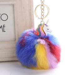 Faux Rabbit Fur Colorful Pom Pom Ball Cute Unicorn 1# one size