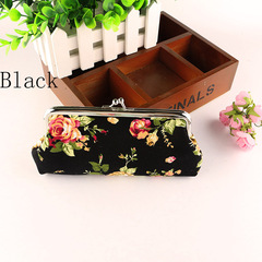 Fabric ladies wallet long section large rose canvas coin purse single layer hand phone bag black