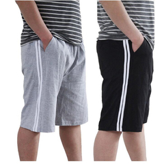 Large size men's sports and leisure shorts double white men's shorts light grey One size