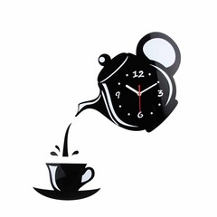 Creative 3D Teapot Cup Acrylic Mirror Wall Clock S Silver one size