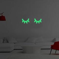 2Pcs Glow in The Dark Eyelash Wall Sticker DIY Cut one color one size