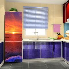 3D Sunrise Scenery Wall Refrigerator Door Sticker  one color 180cm x 60cm