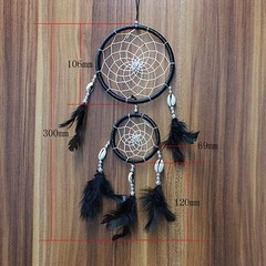 30cm Net Feather Dream Catcher Wedding Party Home  Black one size