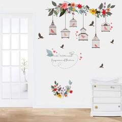 Removable Flower Bird Birdcage Wall Art Sticker De one color one size