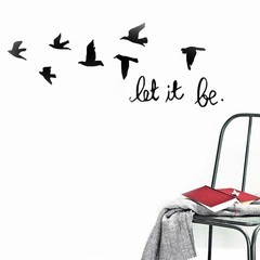 Fashion Silhouette of Flying Bird Let It Be Wall A Black one size