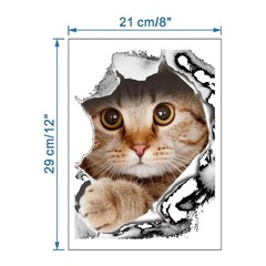 Funny Cat Dog Toilet Lid Cover Decal Wall Art Stic Dog one size