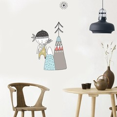 Fashion Girl Arrow Mountain Wall Art Sticker Home  one color one size