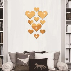 10Pcs/Set Love Heart 3D Mirror Wall Art Sticker Mu Silver one size