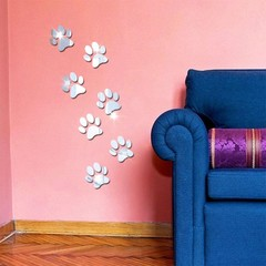 7Pcs Cute Paws Mirror Wall Sticker Self-Adhesive D Red one size