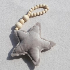 Nordic Style Star Heart Wooden Bead String Tassel  Grey one size