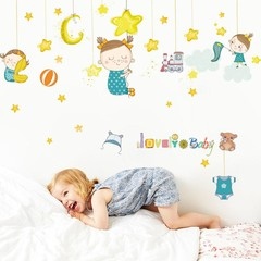 Star Moon Baby Girl Removable DIY Wall Art Mural S one color one size