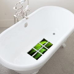 6Pcs 3D Bath Tub Shower Green Leaves Sticker Non S Green one size