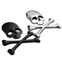 Cool 3D Metal Skull Emblem Badge Car Motorcycle Ve Black one size