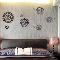 Creative 3D Mirror Effect Sun Flower DIY Wall Stic Golden one size