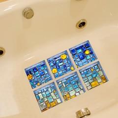 6Pcs 3D Bath Tub Shower Mosaic Sticker Non Slip Ap Blue one size