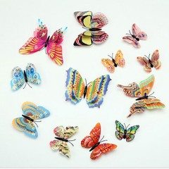 12Pcs Colorful 3D Butterfly Home Fridge Decoration 1# one size